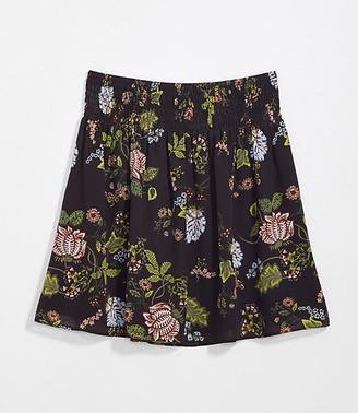 LOFT Petite Floral Smocked Waist Skirt
