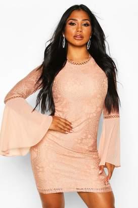 boohoo High Neck Lace Flared Sleeve Mini Dress