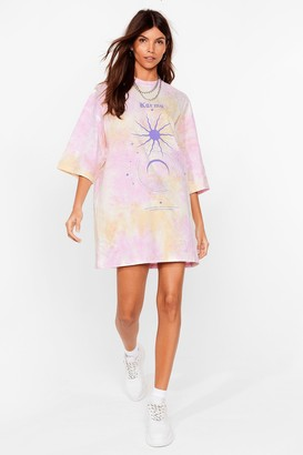 Nasty Gal Womens Karma's a Bitch Graphic Oversized Tee Dress - Purple - S, Purple