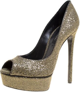 Casadei Glitter Lame Fabric Daisy Peep Toe Platform Pumps Size 38.5