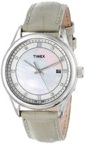 "Timex Women's T2P150AB""Classic"" Stainless Steel Watch with Swarovski Crystals and Leather Band"