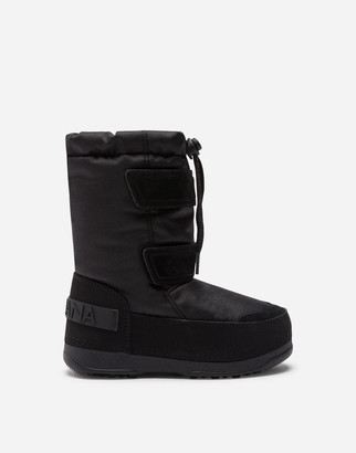 Dolce & Gabbana Nylon And Split-Grain Leather Snow Boots With Logo