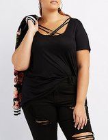 Charlotte Russe Plus Size Lattice-Front Boyfriend Tee