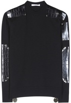 Givenchy Wool Sweater With Embossed Leather