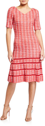 St. John Bold Vertical Tweed Knit V-Neck Dress