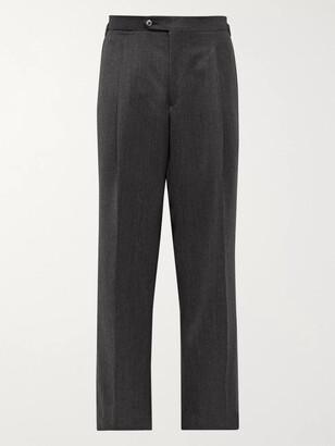Saman Amel - Charcoal Wide-Leg Pleated Melange Wool-Twill Trousers - Men - Gray