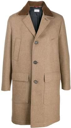 Brunello Cucinelli shearling collar single breasted coat