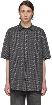 Balenciaga Black and White Check All Over Logo Normal Fit Shirt