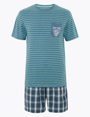 Marks and Spencer Pure Cotton Striped Checked Pyjama Set
