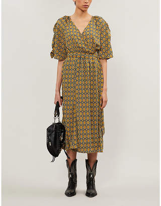 Selfridges Happy X Nature Geometric-print recycled polyester midi wrap dress