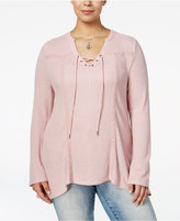 American Rag Trendy Plus Size Waffle-Knit Top, Only at Macy's