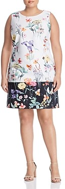 Adrianna Papell Plus Sleeveless Floral Print Shift Dress