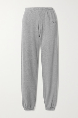 WSLY - Embroidered Organic Cotton-blend Jersey Track Pants - Gray