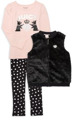 Juicy Couture Little Girl's Faux Fur Vest, Top & Pants Set