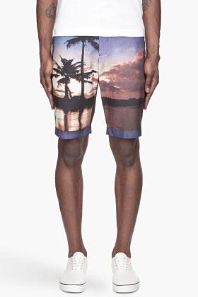 Bill Tornade BILLTORNADE Purple palm trees print Frank shorts