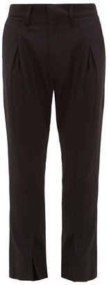 BED J.W. FORD Flared-cuff Pintucked Wool-crepe Trousers - Black