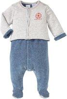 Petit Bateau 2 Piece Footie Set (Baby) - Blue/Grey-Newborn
