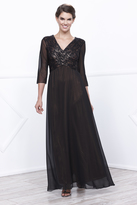 Unique Vintage Penny Gold Three-Quarter Sleeve Lace Cross Long Dress