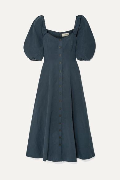Mara Hoffman Net Sustain Mika Tencel And Linen-blend Maxi Dress - Navy