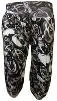 R Kon Women's Ladies Three Quarter (3/4) Harem Cropped Trouser Ladies Baggy Pants