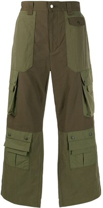 White Mountaineering Contrasted Wide Leg Cargo Pants