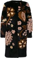 Alberta Ferretti floral design fur coat - women - Mink Fur/Rabbit Fur/Acetate/Viscose - 40