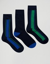 Pringle Verticle Stripe In 3 Pack Socks Navy