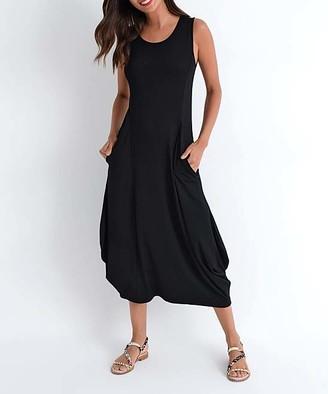 Milan Kiss Women's Casual Dresses BLACK - Black Side-Pocket Midi Dress - Women