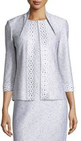St. John Sparkle Twilight Knit 3/4-Sleeve Jacket, Silver/Multi