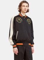 Stella Mccartney Men's Nice One Flower Embroidered Bomber Jacket In Black