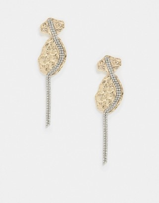 Liars & Lovers statement earrings in gold with diamante drop
