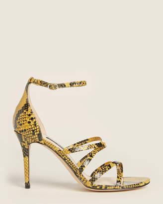 Nine West Yellow Malina Snakeskin-Effect Sandals