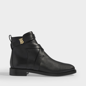 Burberry Pryle Flat Ankle Boots In Black Calf Leather