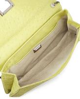 Kara Ross Honora Ostrich Shoulder Bag, Green/Yellow
