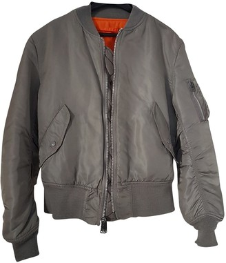 Alpha Industries Grey Polyester Leather jackets