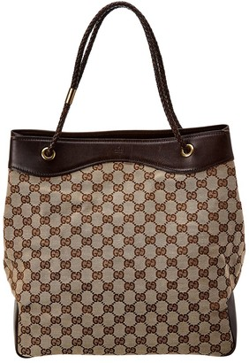 Gucci Brown Gg Canvas Braided Handle Tote