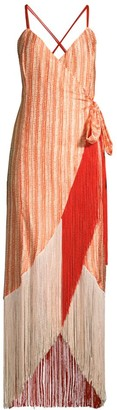Azulu Fringe Hem Wrap Dress
