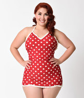 Bettie Page Plus Size 1950s Style Red & Ivory Dotted Halter Swimsuitdress