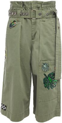 Marc Jacobs Belted Embellished Cotton Shorts
