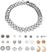 Mudd Tattoo Choker Necklace & Heart Stud Earring Set