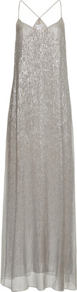 Marie France Van Damme Metallic Silk-Blend Maxi Dress