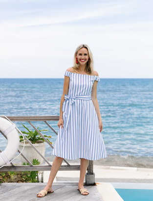 Draper James Off the Shoulder Stripe Dress