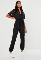Missguided Black Organza Check Short Sleeve Romper