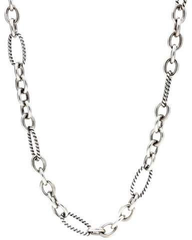 David Yurman Figaro Sterling Silver and 18K Yellow Gold Link Chain Necklace