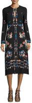 Vilshenko Jerry Long-Sleeve Floral Silk Dress, Black
