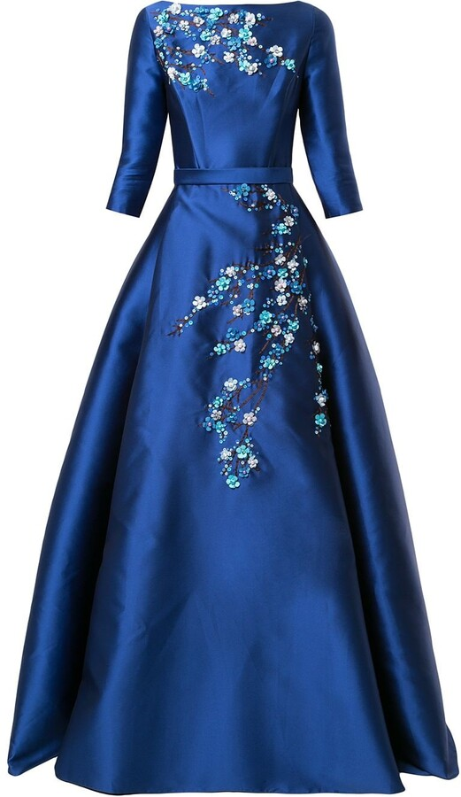 Thumbnail for your product : Carolina Herrera Floral-Applique Satin Gown