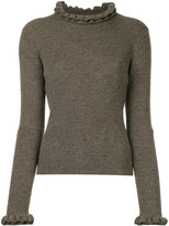 Le Ciel Bleu frill-trim knitted sweater