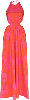 STAUD Apfel hibiscus-print maxi dress
