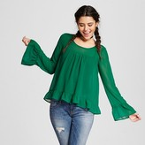 Xhilaration Women's Ruffle Top Green Juniors')