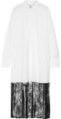 Valentino Chantilly Lace-paneled Cotton-poplin Midi Shirt Dress